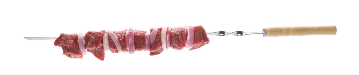 Metal skewer with raw meat and onion on white background