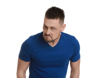Angry man on white background. Hate concept