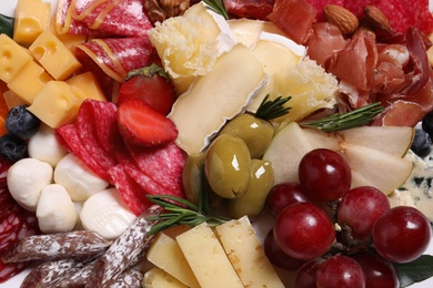 Different fresh appetizers as background, closeup view