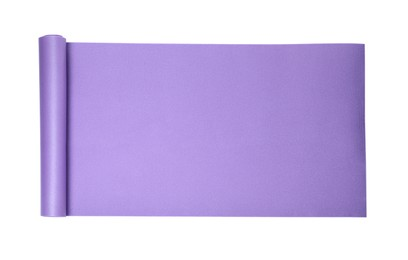 Violet camping mat isolated on white, top view