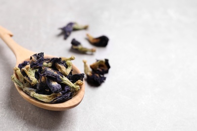 Spoon and dry organic blue Anchan on light grey table, closeup with space for text. Herbal tea