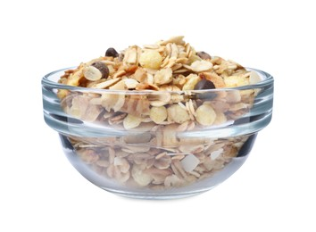 Granola in bowl on white background. Healthy snack