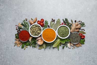Flat lay composition with different natural spices and herbs on light grey table