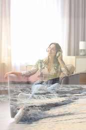 Double exposure of picturesque sea coast and beautiful woman in headphones listening to music
