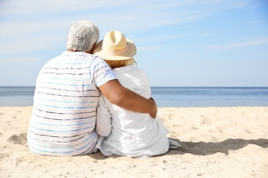 Mature couple spending time together on sea beach, back view