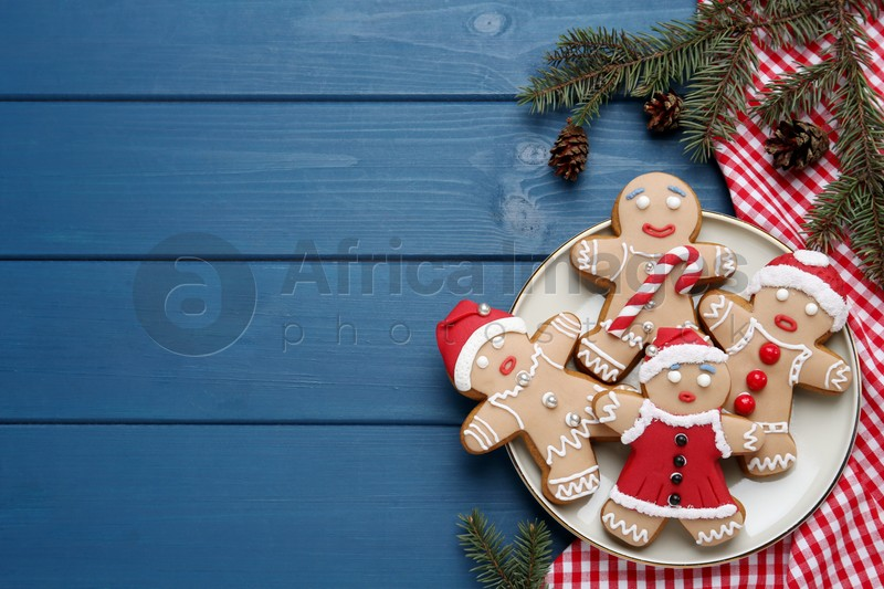 Delicious Christmas cookies and fir branches on blue wooden table, flat lay. Space for text