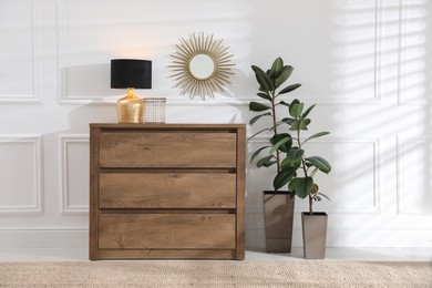 Wooden chest of drawers with lamp, houseplants and mirror on white wall in room. Interior design