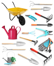 Set of different gardening tools on white background
