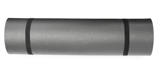 Grey rolled camping or exercise mat on white background, top view