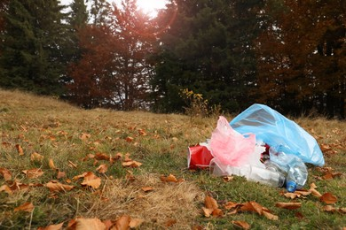 Pile of plastic garbage on grass near forest. Space for text
