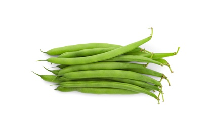 Fresh green beans on white background, top view
