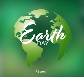 Happy Earth day. Creative illustration of planet on green background