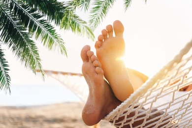 Man relaxing in hammock under green palm leaves on beach, closeup view