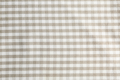 Texture of white checkered fabric as background, closeup