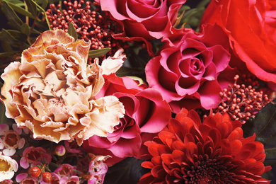 Beautiful fresh bouquet as background, top view. Floral decor