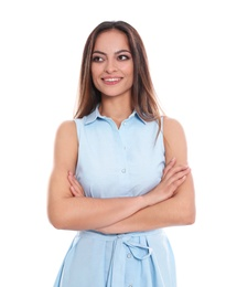 Portrait of beautiful young woman in dress on white background