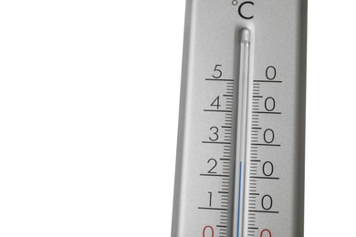 Modern grey weather thermometer on white background, closeup