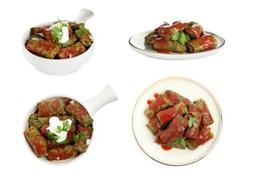 Delicious stuffed grape leaves with tomato sauce on white background, collage