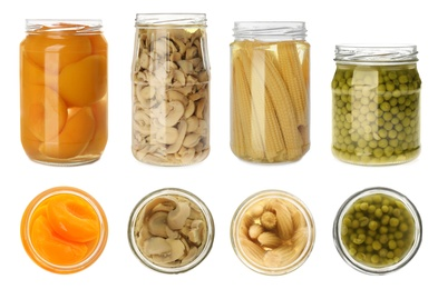 Set of jars with pickled foods on white background, top and side views