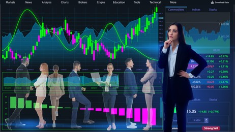Double exposure of businesspeople and online web terminal with information. Stock exchange