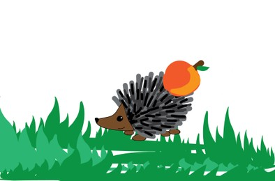 Drawing of cute hedgehog with apple on green grass. Child art