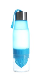 Sport water bottle with strap on white background