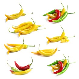 Set with ripe chili peppers on white background