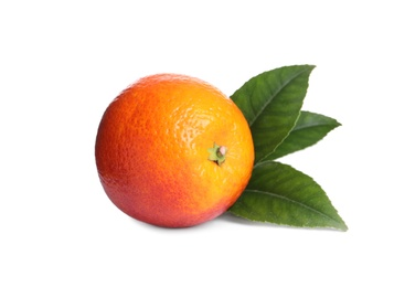 Whole ripe red orange with green leaves on white background