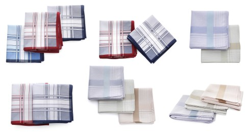 Set with different handkerchiefs on white background