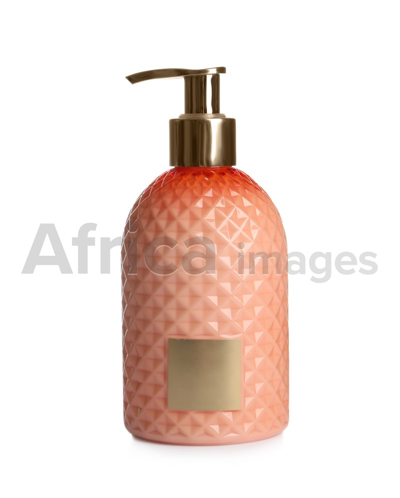 Stylish dispenser with liquid soap isolated on white