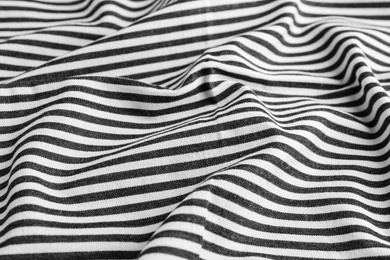 Texture of white striped fabric as background, closeup