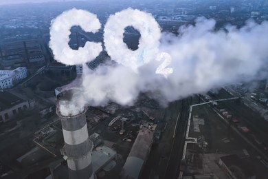 Inscription CO2 made of smoke. Industrial factory polluting air, aerial view