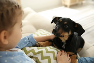 Little girl with cute puppy sitting on sofa indoors, closeup
