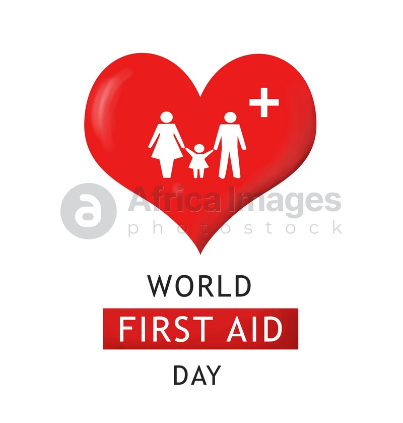 World First Aid Day. Red heart and silhouettes of family on white background