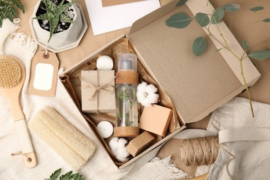 Flat lay composition with eco friendly personal care products on table