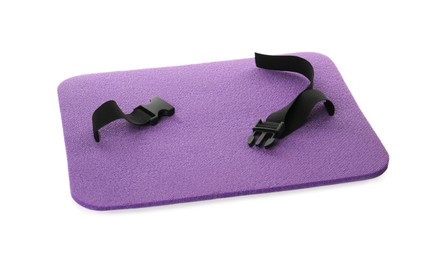 Violet foam seat mat for tourist isolated on white