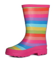 Modern striped rubber boot isolated on white