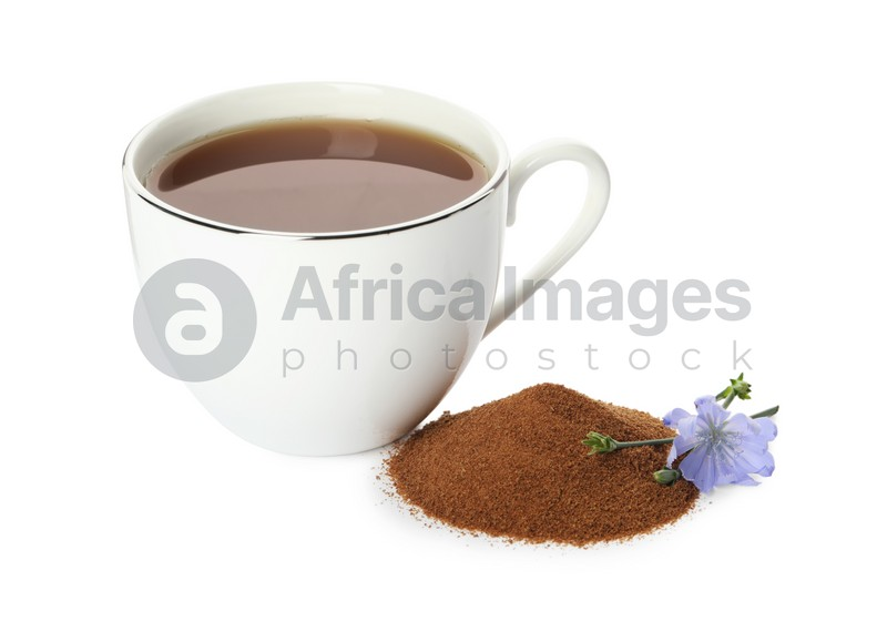 Cup of delicious chicory drink, powder and flower on white background