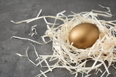 Golden egg in nest on grey background, space for text