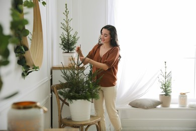 Woman decorating potted fir tree with Christmas lights at home