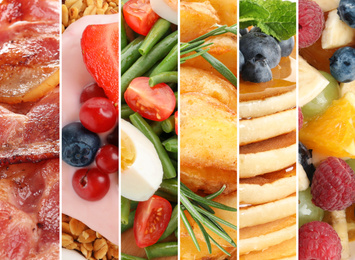 Collage of different delicious food, closeup