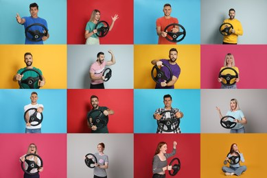 Emotional people with steering wheels on different color backgrounds, collage