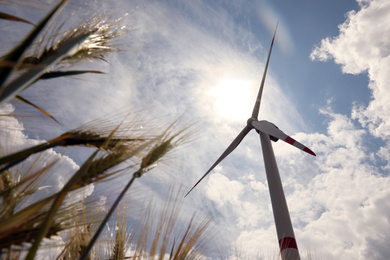 Modern wind turbine and wheat against cloudy sky, low angle view. Alternative energy source