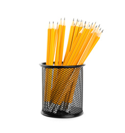 Many sharp pencils in holder isolated on white