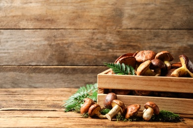 Fresh wild slippery jack mushrooms in wooden crate on table. Space for text