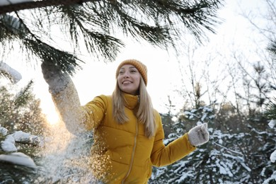 Woman shaking off snow from tree branch in forest on winter day