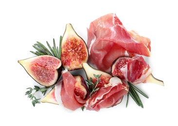 Delicious ripe figs, prosciutto and herbs on white background, top view