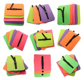 Set with colorful foam tourist seat mats on white background