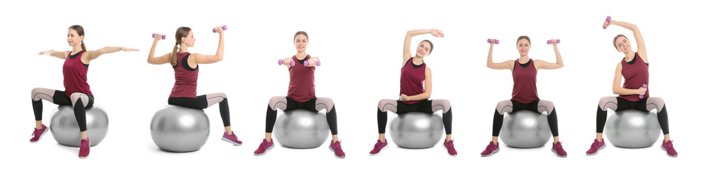 Collage of woman with fitball doing exercises on white background. Banner design