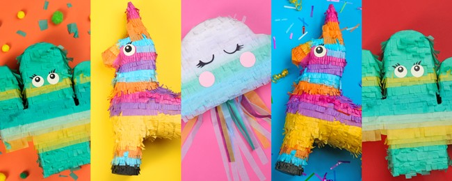 Collage with photos of funny pinatas on different color backgrounds, top view. Banner design